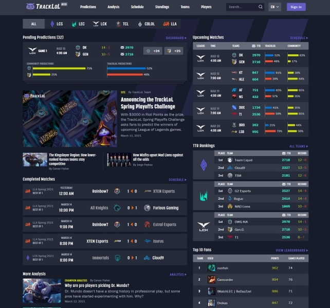 Elo Entertainment launches TrackLoL for League of Legends analytics elo tracklol home