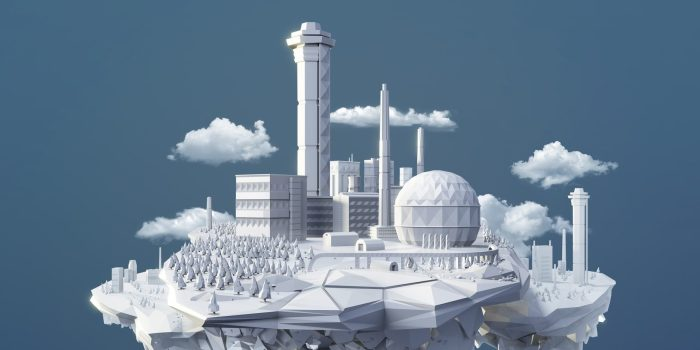 Polygonal factory site island floating with clouds.
