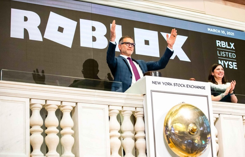 Roblox CEO and founder Dave Baszucki rings the opening bell at the New York Stock Exchange.