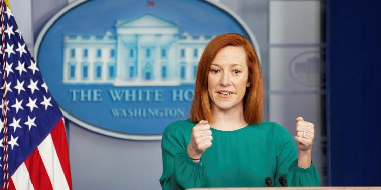 White House press secretary Jen Psaki speaks during a briefing at the White House in Washington, U.S., March 15, 2021.