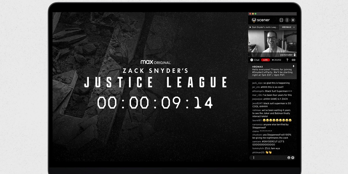 Scener and HBO Max will host a remote live watch party for Zack Snyder's Justice League.