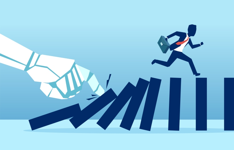 Vector of a robot hand pushing dominoes while businessman runing away from falling effect. Human vs AI concept