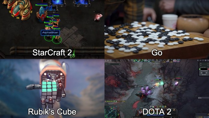 Screengrabs of StarCraft, Rubik's Cube, Go, and DOTA