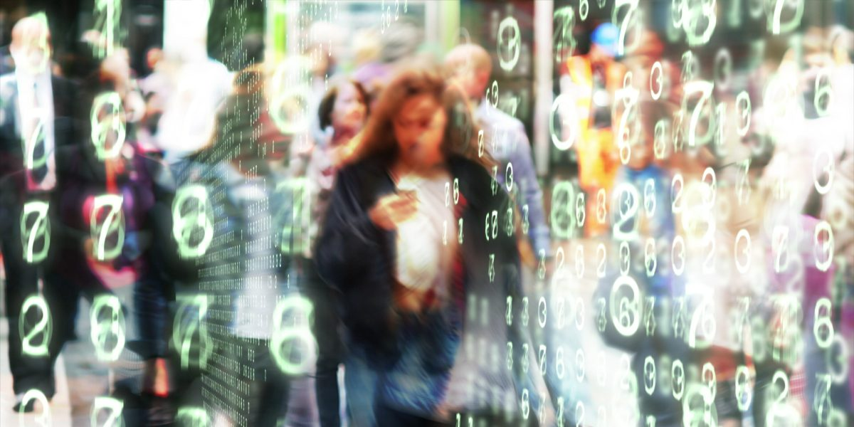 Woman looking at her phone surrounded by glowing numbers in a stylized city environment.