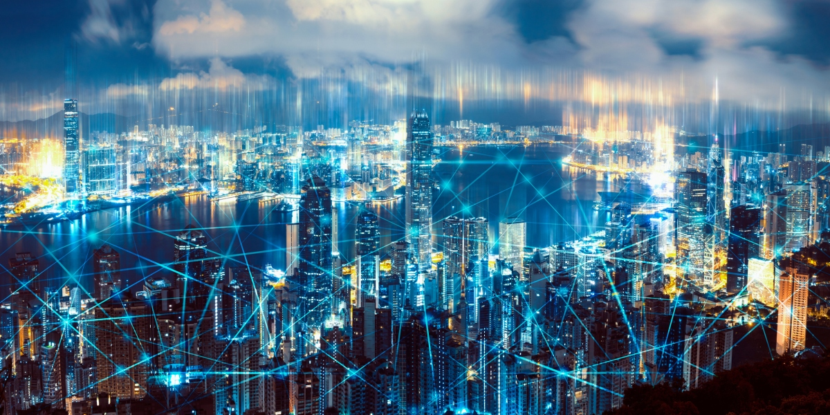 Aerial View of City Network. Technology smart city with network communication internet of things