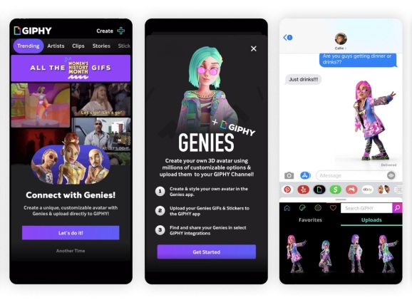 Genies has teamed up with Giphy for virtual avatars.