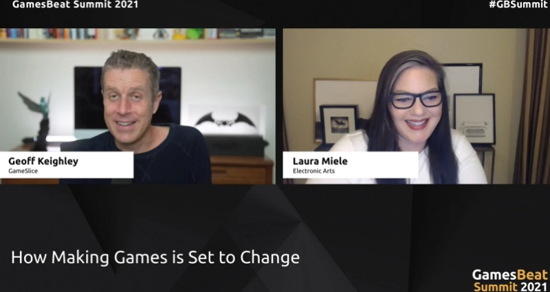 Geoff Keighley of The Game Awards talks with Laura Miele of EA.
