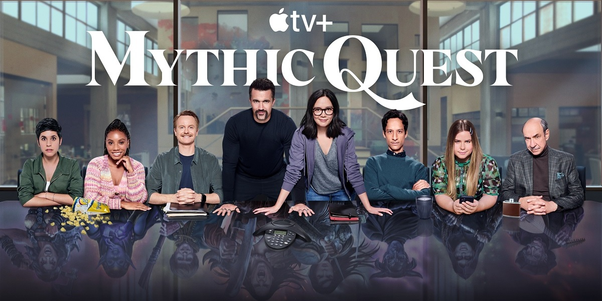 The cast of Mythic Quest, an Apple TV+ comedy about a game studio.