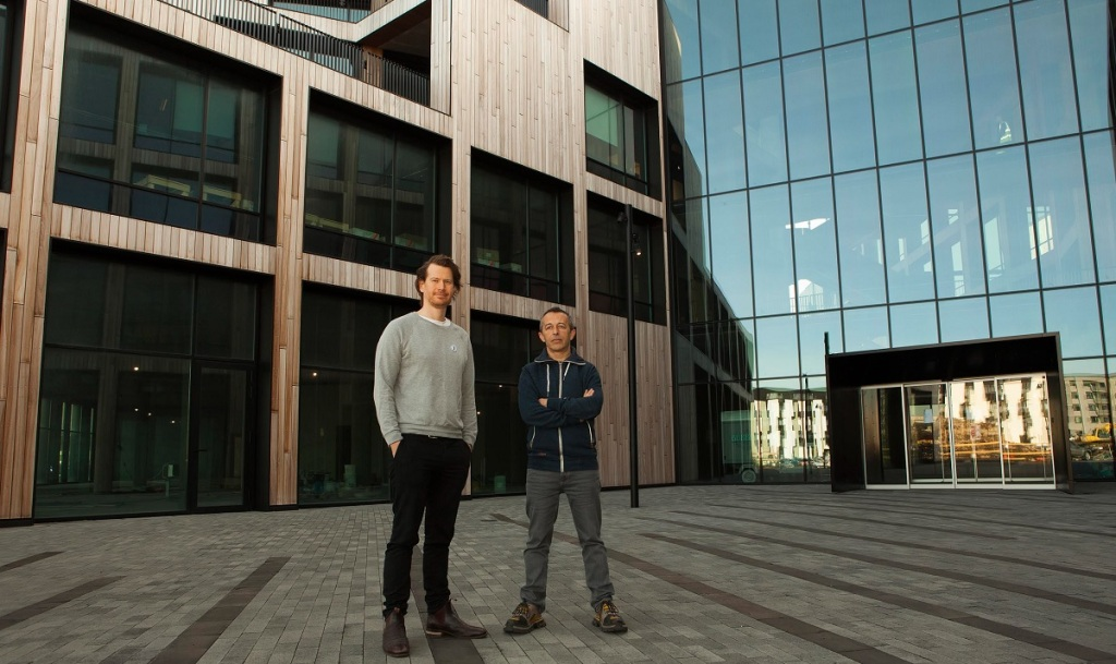 Nanom CTO Antonijo Licitar and CFO Stuart Bronson outside the Nanom offices at Iceland Science Park.