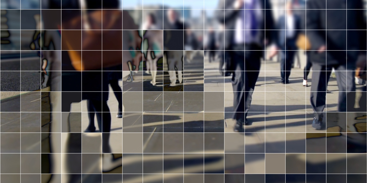 People walking on a public street, with a cubist digital grid effect.