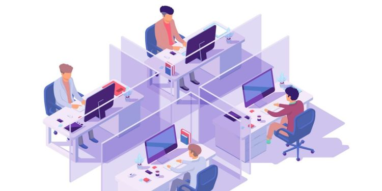 Isometric 3d workplace with four sections and businessman programmer at computer. Concept employee men with electronic device and equipment. Low poly. Vector illustration.