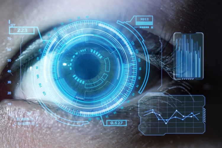 Human eye with using the graphical user interface technology