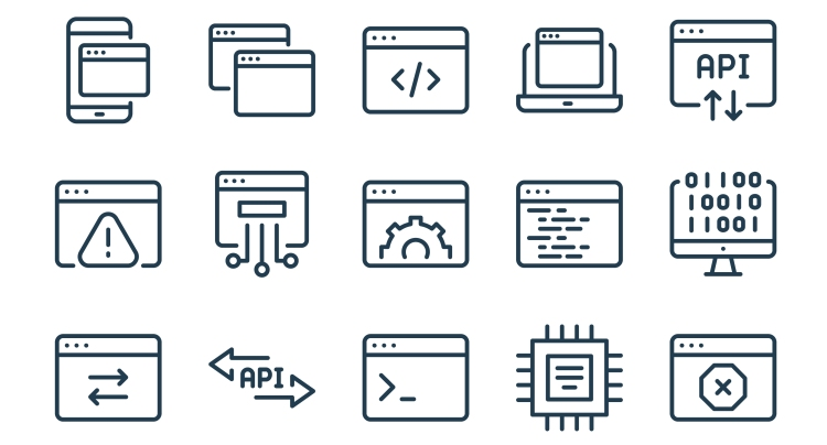 Hosting and software settings icon set