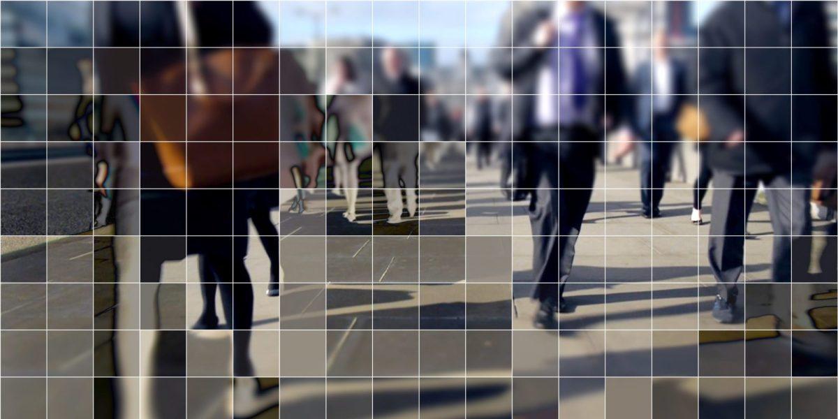 Digitized image of pedestrians