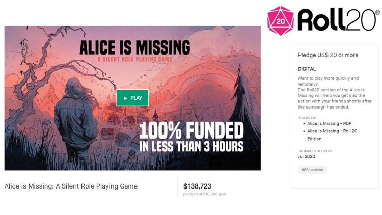 Roll20's Alice is Missing was funding within three hours on Kickstarter.