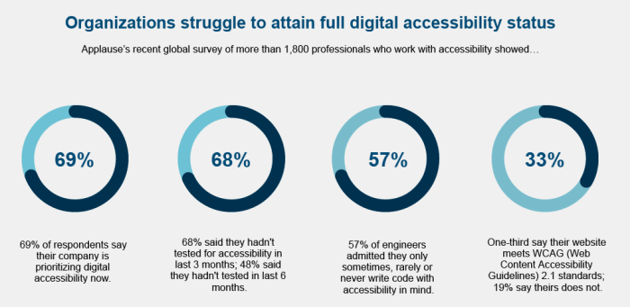 Organizations struggle to attain full digital accessibility status.