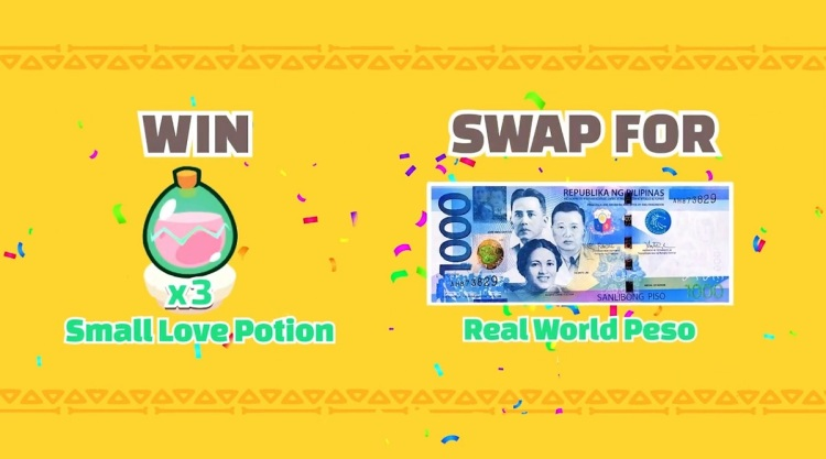 Axie Infinity lets you convert game rewards to real money.