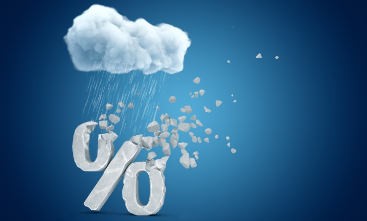 """3d rendering of white rainy cloud above grey percent """"%"""" sign shattering into small pieces on blue background"""