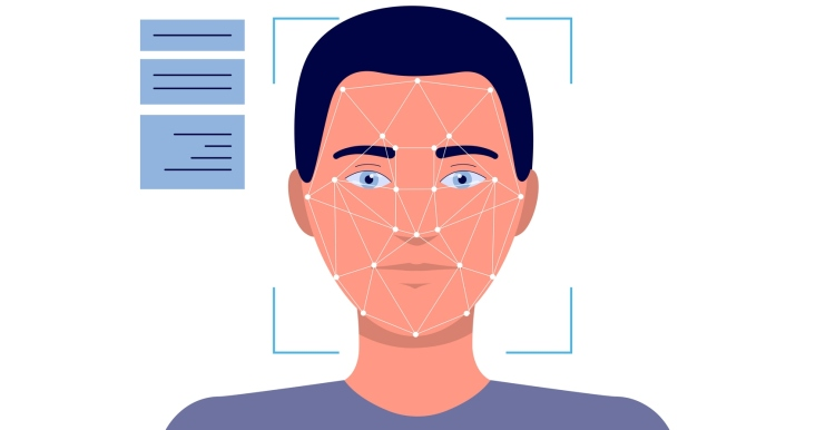 Illustration of man's face in facial recognition technology device