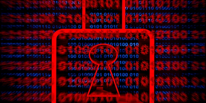 Illustration, 3D red padlock on blue, red binary code on screen background.