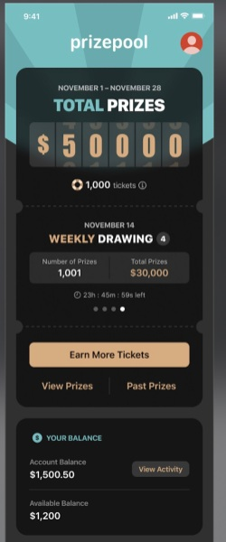 PrizePool offers a weekly drawing where you can win up to $25,000.
