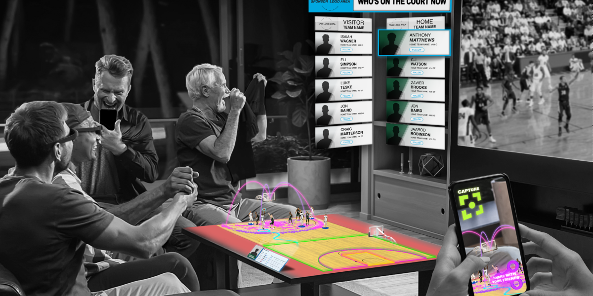 Quintar's Q.reality platform is an AR enhancement for sports, which can project a field on your tabletop at home or add stats and graphics to an event you're watching. You can even share it.
