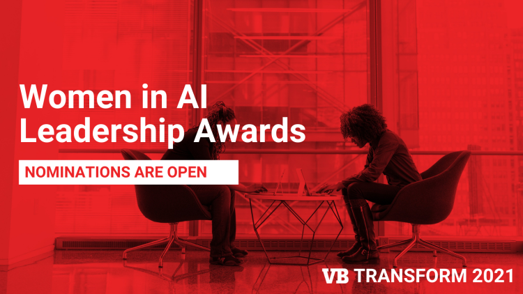 Two women at laptops with a red tint, and text describing the Women in AI Awards at VB Transform 2021