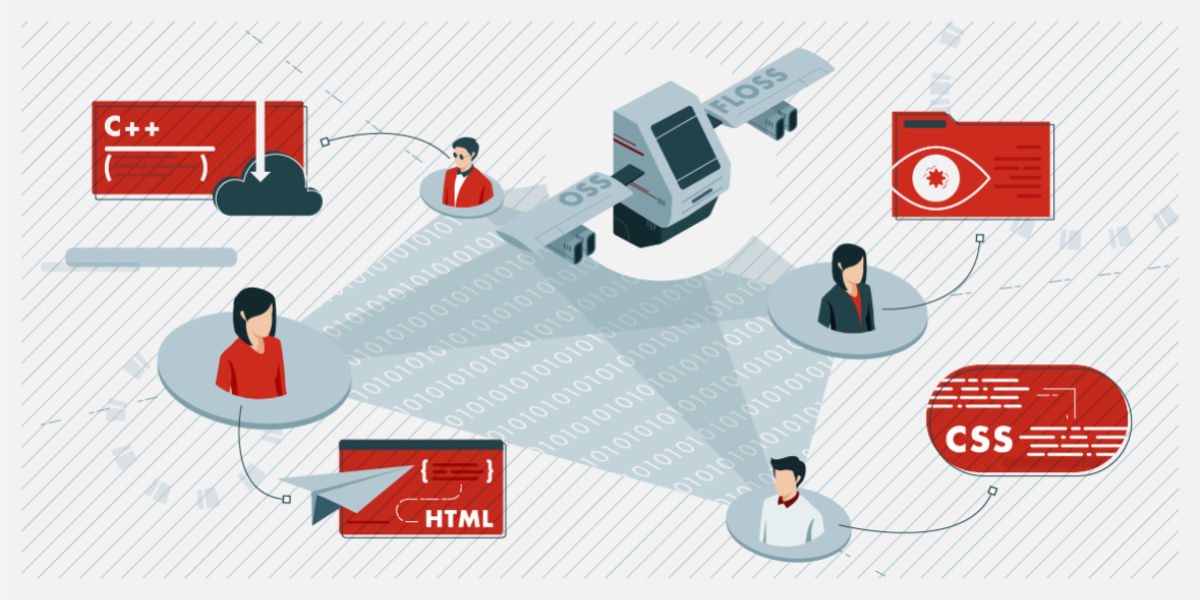 An illustration depicting open source software development