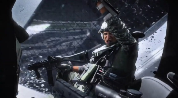 A soldier hangs out during a tornado in Battlefield 2042.