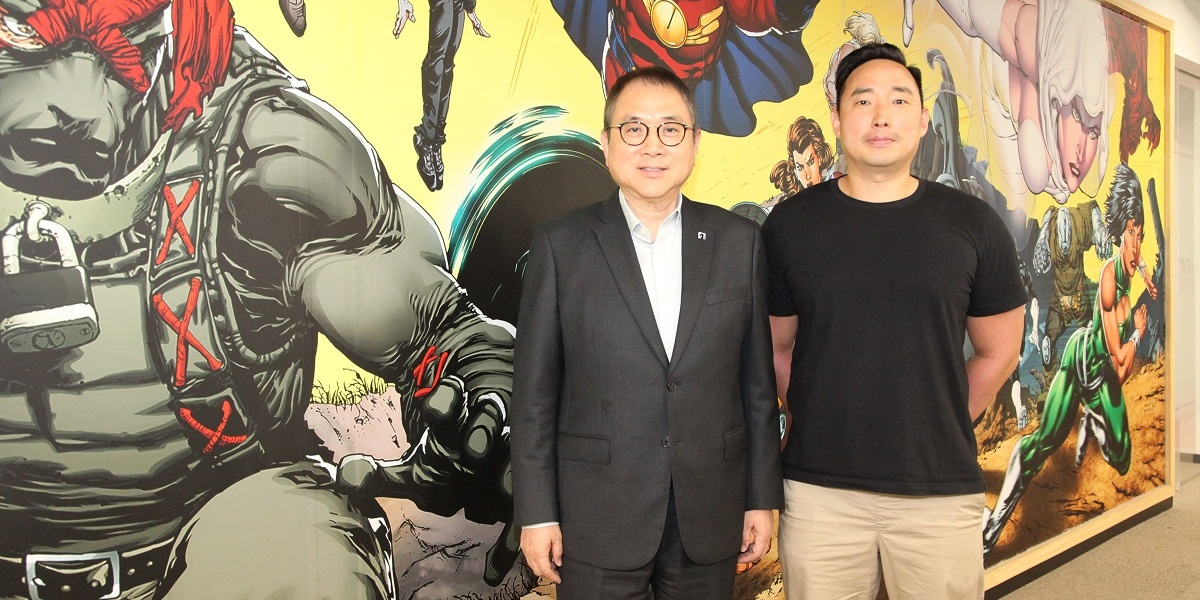 Stanley Cheung (left), executive chairman of Dark Horse Comics, and Johnny Lee, general manager of Dark Horse Games.