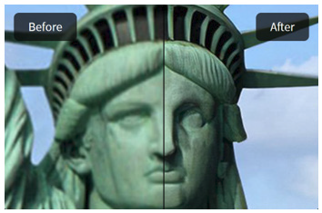 Photo of the Statue of Liberty before and after being processed by Topaz Gigapixel AI combining Intel Deep Link Technology with the OpenVINO toolkit.