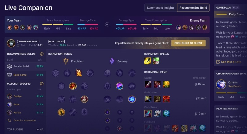 Mobalytics provides a Live Companion for League of Legends.