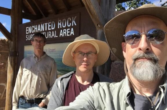 Left to right: Sean Stewart, Austin Grossman, and Neal Stephenson.