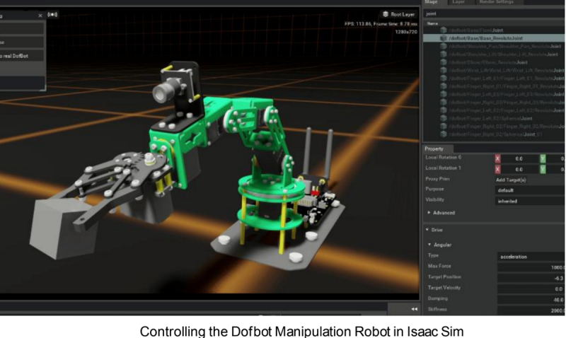 nvidia isaac 3 Dofbot manipulation robot in Isaac Sim