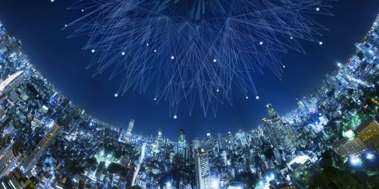 Artificial intelligence above a city night view.