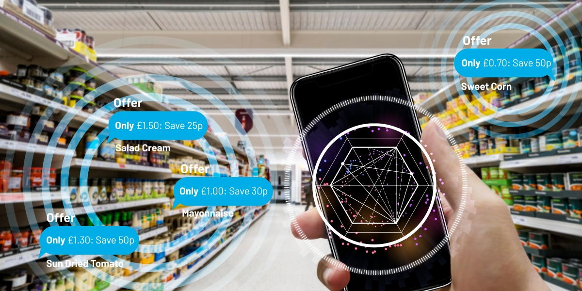 Augmented reality for smart retail business concept.hands holding mobile phone on blurred supermarket