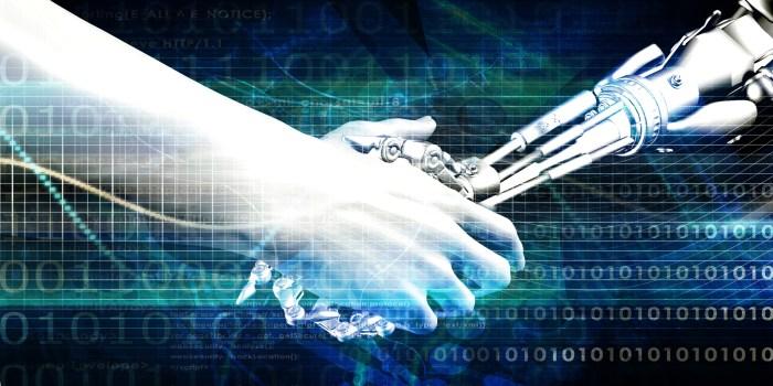 Engineering Technology with Robotic Arm and Human Hand Handshake