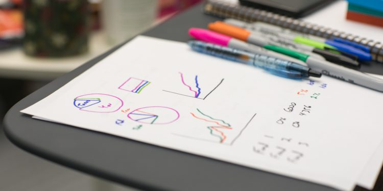 Paper with hand-drawn charts and graphs.