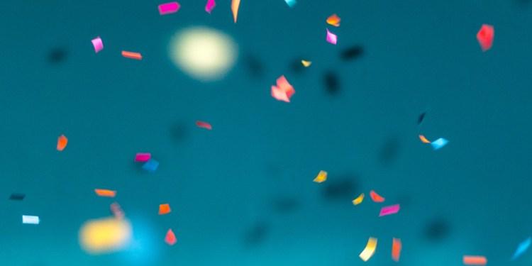 celebratory confetti in the air