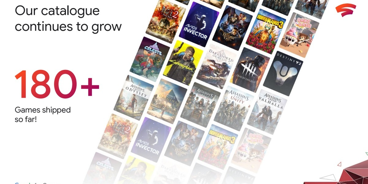 Google Stadia has 180 games now in its cloud gaming service.