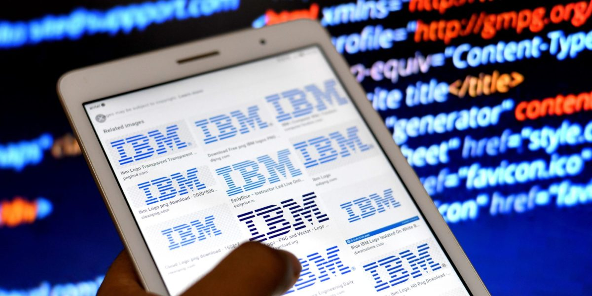 In this photo illustration, IBM Company logos seen displayed on an Android Tablet Phone. (Photo Illustration by Avishek Das/SOPA Images/LightRocket via Getty Images)