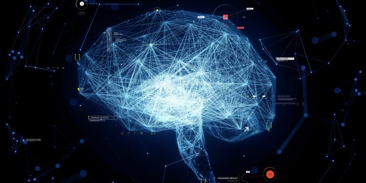Digital generated image of plexus style glowing net data brain on black background.