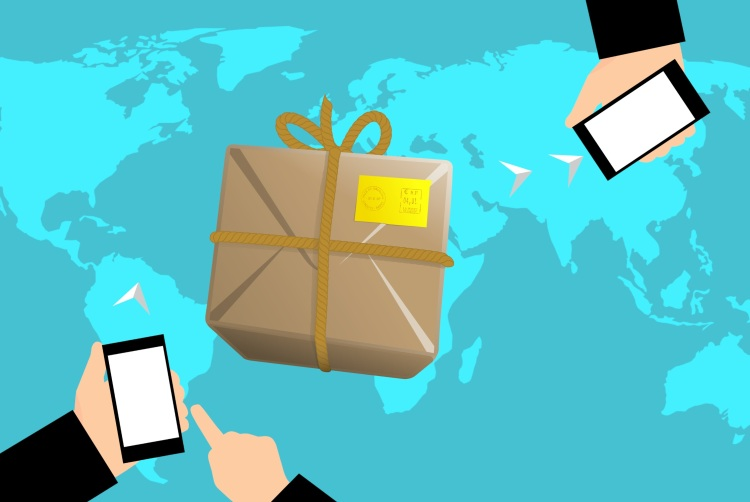 Graphic of a parcel and people on their phones shopping