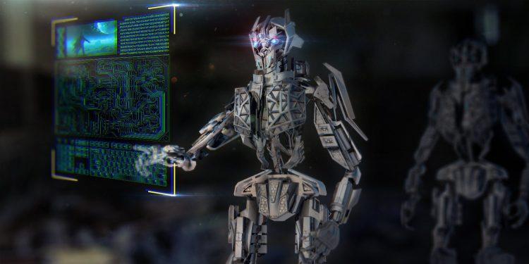A robot using a holographic computer, a representation of AI