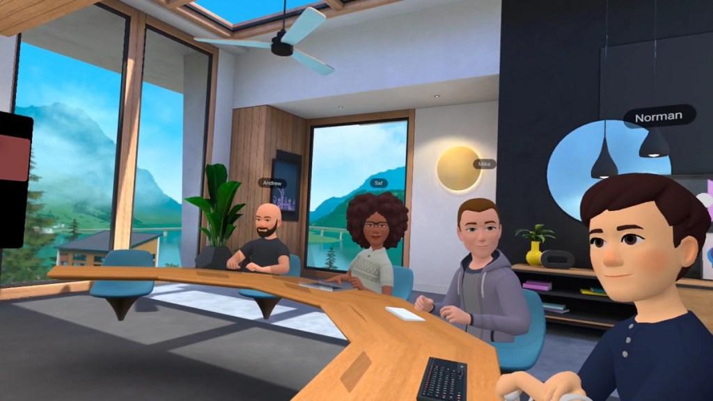 Working in a Facebook Horizon Workroom.