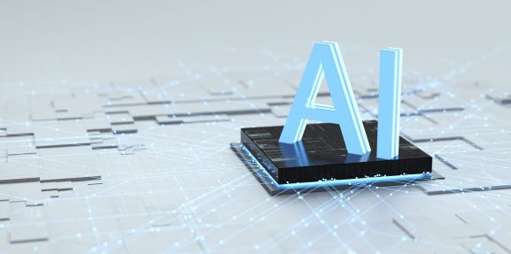 Graphic with AI in 3D on top of what looks like a circuit board