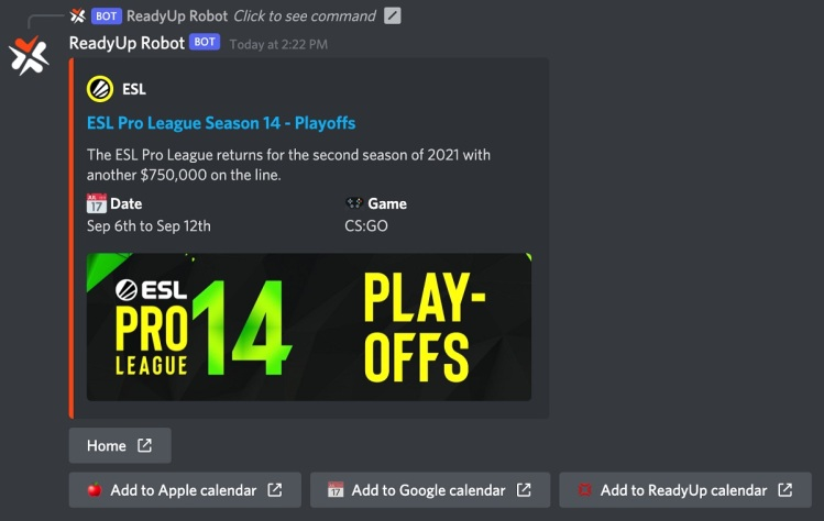 ReadyUp's Discord bot helps engage fans.
