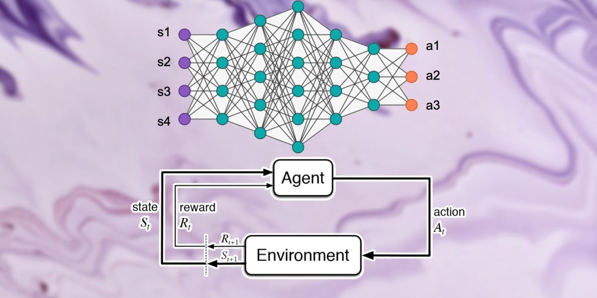 Graphic depicting the deep reinforcement learning process
