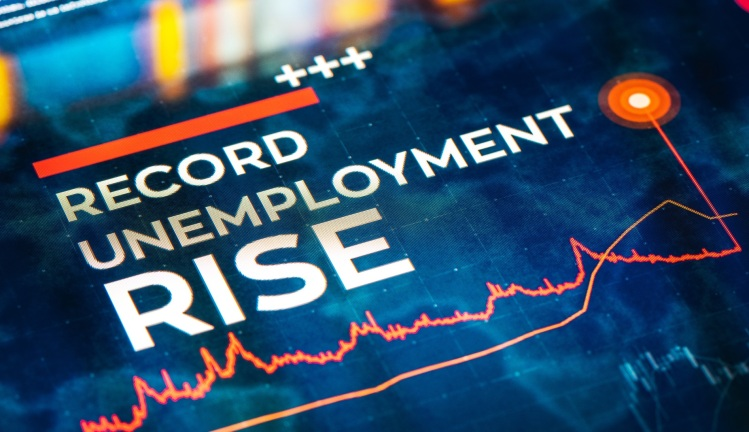 Record Unemployment Rise statistics with charts and diagrams on digital LCD Display