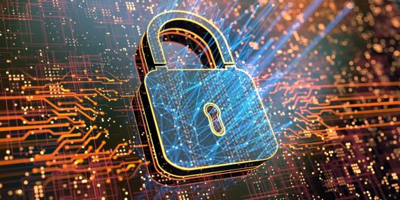 Image of a lock amidst a background of code and networks.
